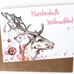 """Postkarte """"Märchenhafte Weihnachten"""" von Aram und Abra"""