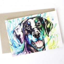 """Postkarte """"Noch ein bunter Hund"""" von Aram und Abra"""