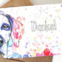 "Postkarte ""Danke"" Dalmatiner Aram und Abra"