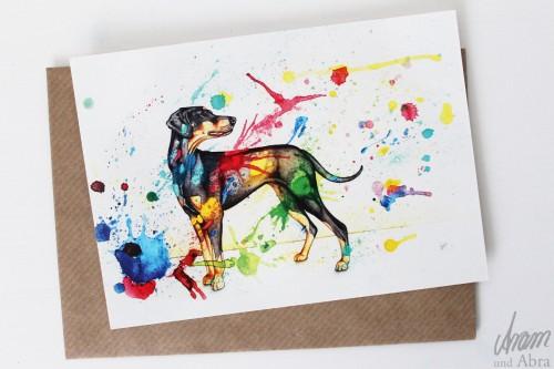 """Postkarte """"Bunter Hund"""" von Aram und Abra"""