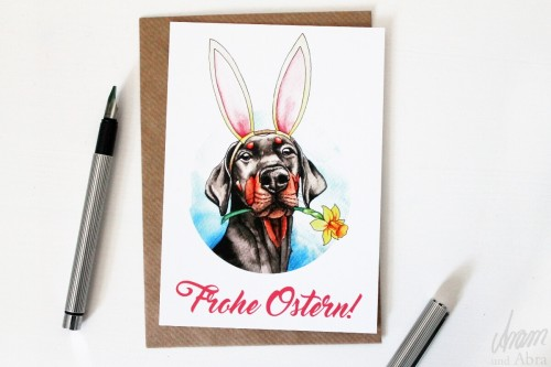 "Postkarte ""Frohe Ostern"" Dobermann Aram und Abra"