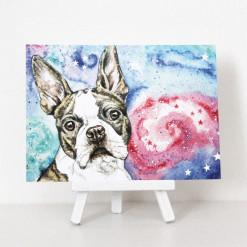 Postkarte Hund Bulldogge Boston Terrier Aquarell von Aram und Abra - Hunde Postkarten günstig online kaufen