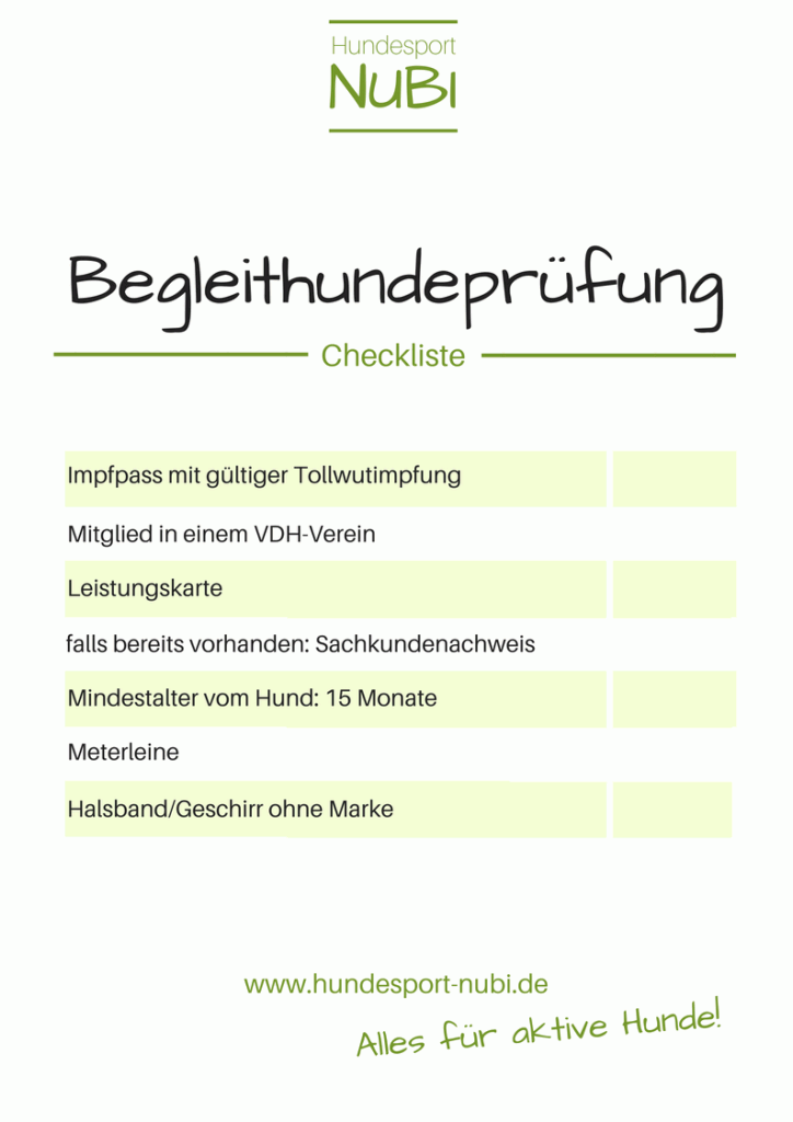 Checkliste Begleithundeprüfung - Hundesport Nubi