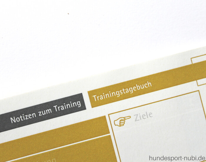 Training mit Plan - Hundesport Trainingstagebuch - Hundesport Nubi