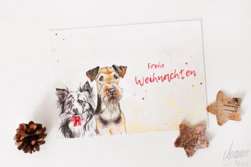 Hunde Postkarte Frohe Weihnachten - Weihnachtskarte Aquarell - Airedale und Australian Shepherd - Aram und Abra bei Hundesport Nubi 2