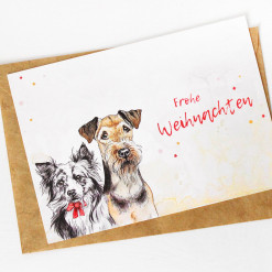 Hunde Postkarte Frohe Weihnachten - Weihnachtskarte Aquarell - Airedale und Australian Shepherd - Aram und Abra bei Hundesport Nubi