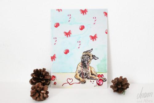 Hunde Postkarte Weihnachten Malinois Welpe - Weihnachtskarte Aquarell - belgischer Schäferhund - Aram und Abra bei Hundesport Nubi 2