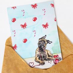 Hunde Postkarte Weihnachten Malinois Welpe - Weihnachtskarte Aquarell - belgischer Schäferhund - Aram und Abra bei Hundesport Nubi