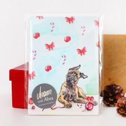 Hunde Postkarten Set Weihnachten - Weihnachtskarte Aquarell - Aram und Abra bei Hundesport Nubi 2