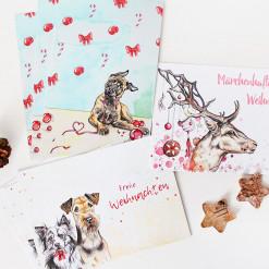 Hunde Postkarten Set Weihnachten - Weihnachtskarte Aquarell - Aram und Abra bei Hundesport Nubi