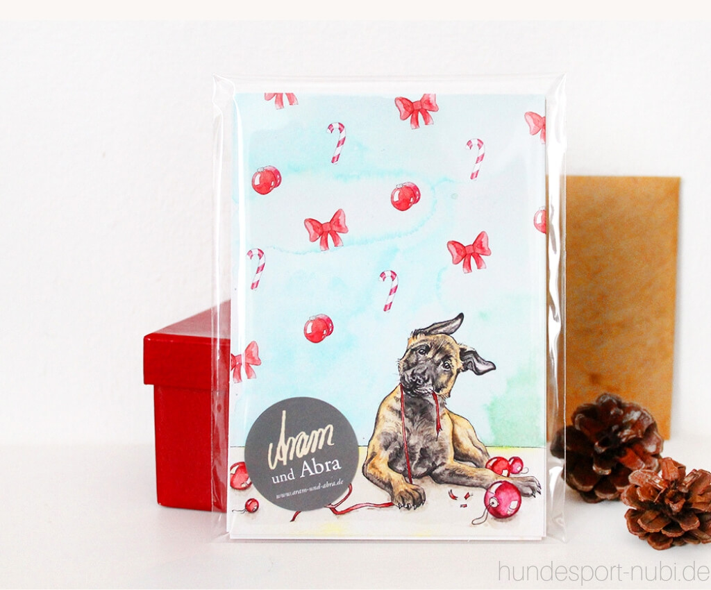 Nikolaus Gewinnspiel - Postkarte Weihnachten von Aram und Abra - Hundesport Nubi - Shop für aktive Hunde