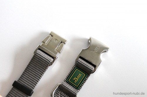 Halsband Hunter Vario Basic Alu-Strong - grau - Verschluss aus Metall - Hundesport Nubi