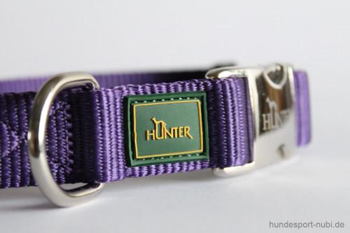 Halsband Hunter Vario Basic Alu-Strong - lila violett - Marke Logo Hunter Metallverschluss - Hundesport Nubi