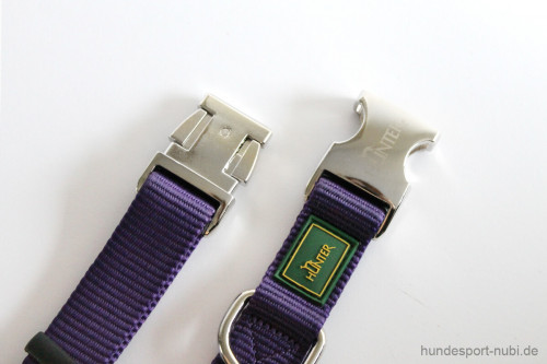 Halsband Hunter Vario Basic Alu-Strong - lila violett - Verschluss aus Metall - Hundesport Nubi