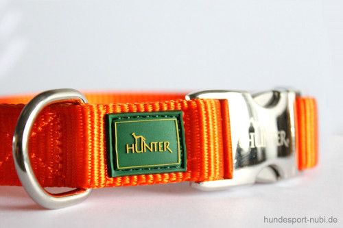 Halsband Hunter Vario Basic Alu-Strong - orange - Marke Logo Hunter Metallverschluss - Hundesport Nubi