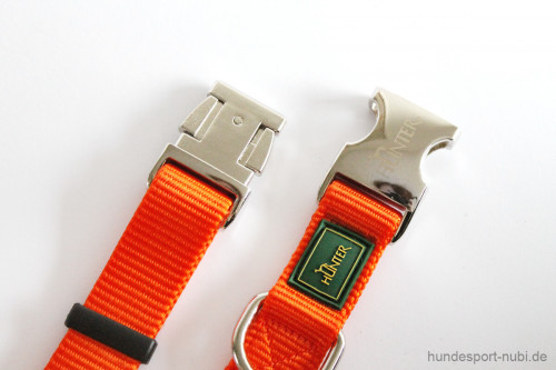 Halsband Hunter Vario Basic Alu-Strong - orange - Verschluss aus Metall - Hundesport Nubi