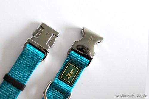 Halsband Hunter Vario Basic Alu-Strong - petrol - Verschluss aus Metall - Hundesport Nubi