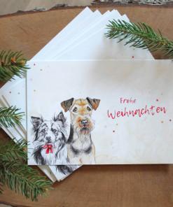 Hunde Weihnachtskarte Airedaile Terrier, Australian Shepherd - günstig online kaufen bei Hundesport Nubi